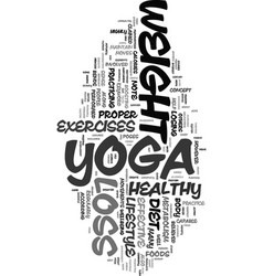 Yoga weight loss text word cloud concept vector