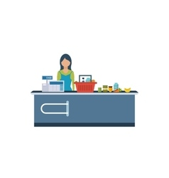Young cashier woman standing in supermarket vector image