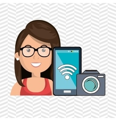 Woman camera photo photography vector