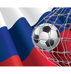 Soccer goal and Russia flag vector image