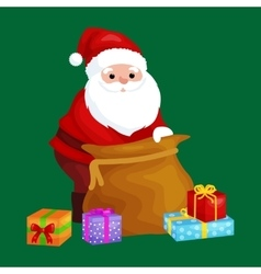 Christmas santa claus with bag full of presents vector