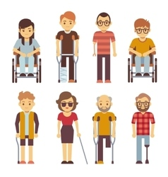 Disabled persons flat icons vector