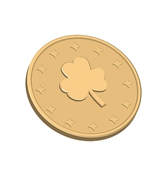 Golden coin with clover vector image