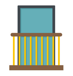 Balcony with yellow fencing icon isolated vector