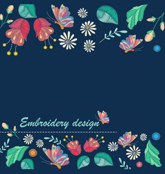 background with embroidery design vector image