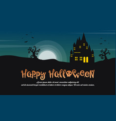 Happy halloween with castle at night landscape vector