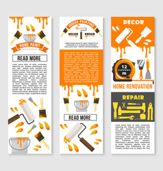 Banners of home repair renovation service vector
