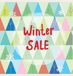 Winter sale background with trees and snow vector