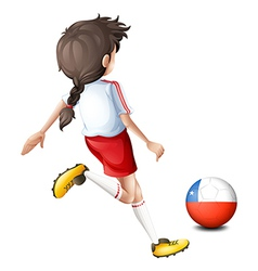 A female player kicking the ball with the flag of vector