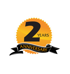 2 years ribbon anniversary vector