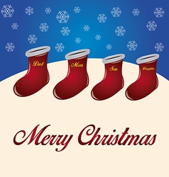 A group of red socks with names for christmas wish vector