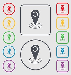 Map pointer icon sign symbol on the round and vector