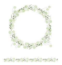 Detailed contour wreath and seamless pattern brush vector