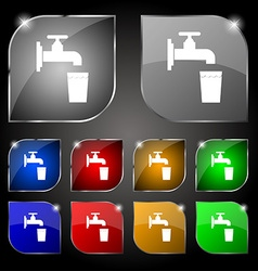 Faucet glass water icon sign set of ten colorful vector