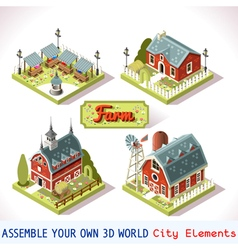 Farm tiles 03 set isometric vector
