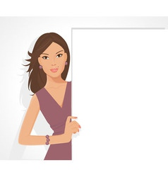 Posing girl with sign vector