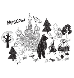 Moscow city black and white scene vector