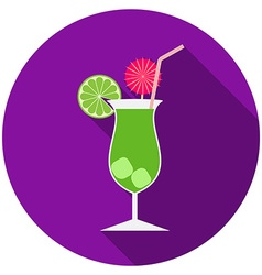 Flat design modern of cocktail icon with long vector
