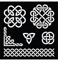 Celtic Irish knots braids and patterns in white vector image