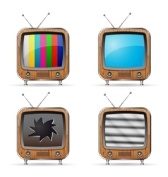 Retro tv icons vector
