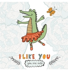 I like you You are cute Beautiful card with hand vector image
