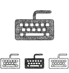Keyboard icon set - sketch line art vector