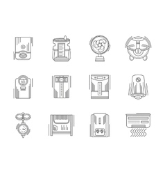 Climate appliances linear icons set vector