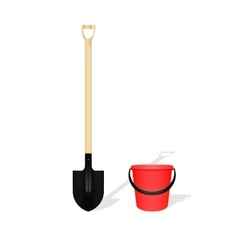 Bayonet shovel and red bucket vector