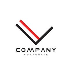 Alphabet letter line lineart v logo icon design vector image vector image
