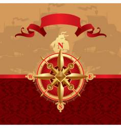 ancient compass rose vector image