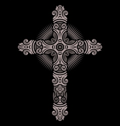 Antique cross ornament vector