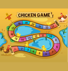 boardgame template with chickens by the pond vector image vector image