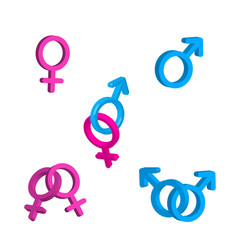 Bright men and women gender signs with vector