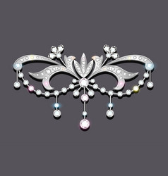Brooch with precious stones filigree victorian vector
