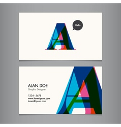 Business card template letter a vector