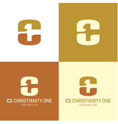 C1 christianity one logo and icon vector