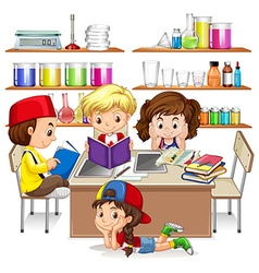 Children reading and studying in classroom vector