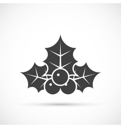 Christmas holly icon flat vector image
