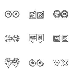 Cross and tick icons set outline style vector