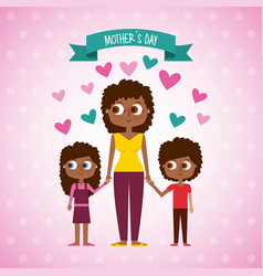 Cute afraomerican woman and kids mothers day vector