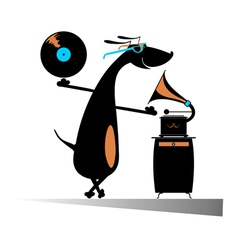 Dog music lover vector image vector image