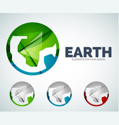 earth globe circle abstract icons vector image