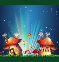 fairies flying over mushroom houses vector image vector image
