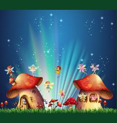 Fairies flying over mushroom houses vector