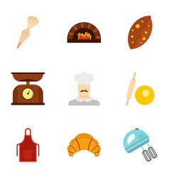 Flour products icons set flat style vector