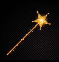 Gold glittering magic stick star dust trail vector