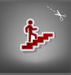 Man on stairs going up red icon with for vector