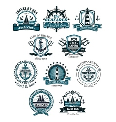 Marine emblems and banners vector image