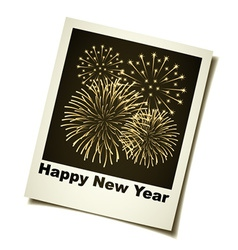 New year fireworks instant photo vector