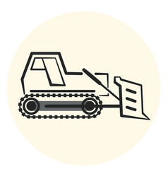 Outline earth mover icon bulldozer icon vector
